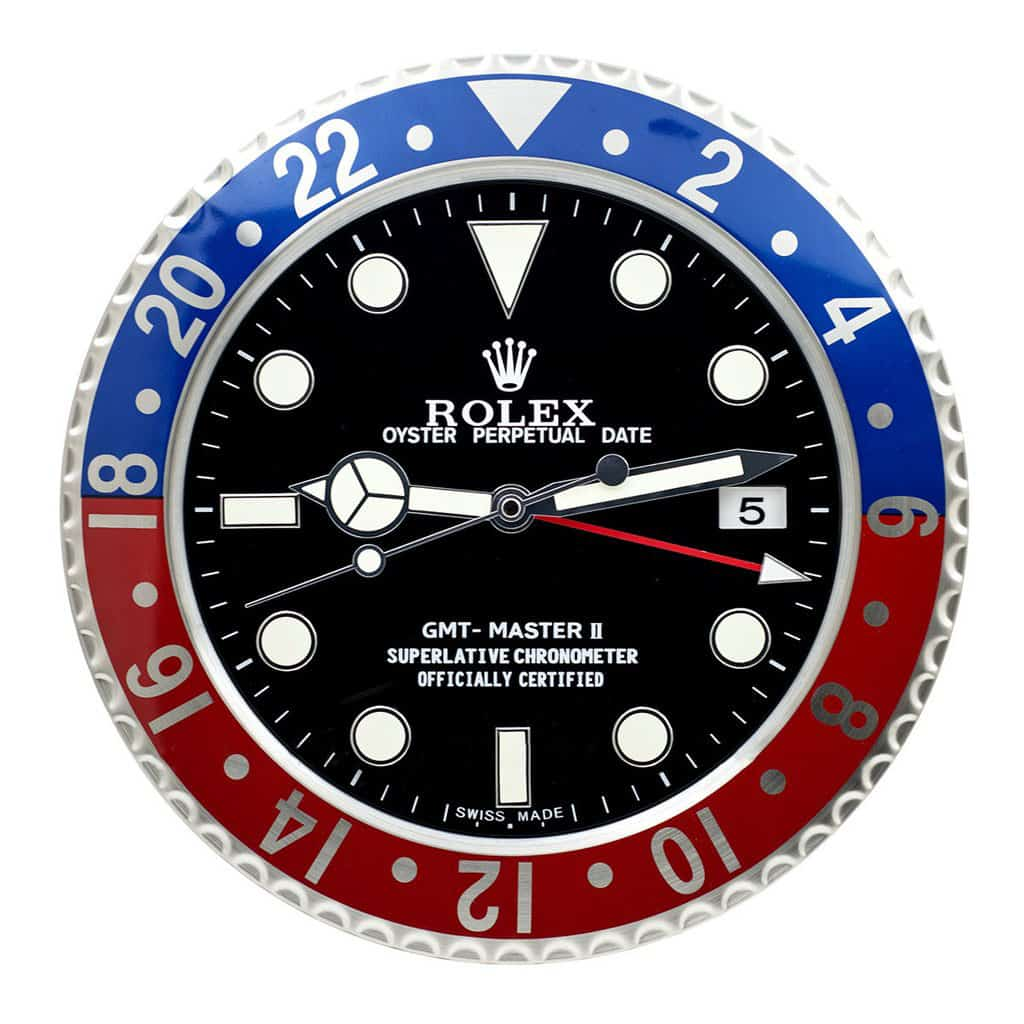 ROLEX WALL CLOCK , GMT MASTER II PEPSI STYLE RL11