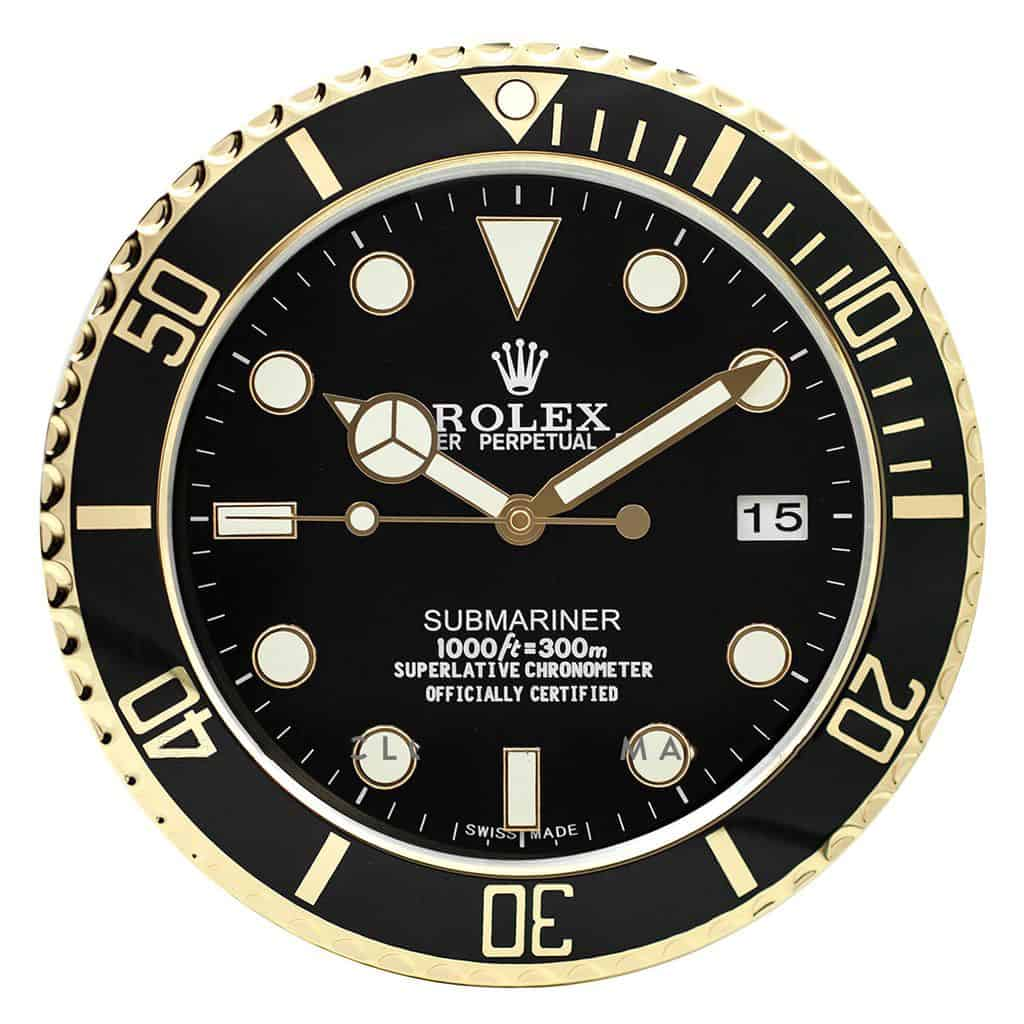 ROLEX WALL CLOCK , SUBMARINER STYLE GOLD RL49